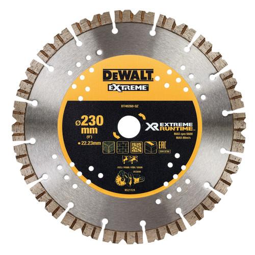 DEWALT DT40260 XR Flexvolt Diamond Blade Extreme Runtime 230mm x 22mm