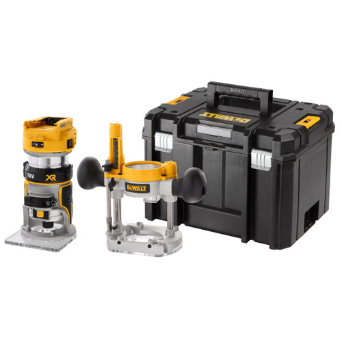 Dewalt DCW604NT 18V XR 1/4 inch Brushless Router + Extra Base (Body Only)
