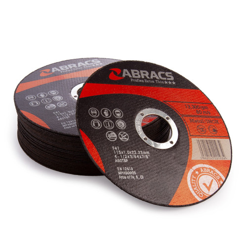 Abracs Proflex Extra Thin Metal Cutting Discs 115mm x 1mm (25 Pack)