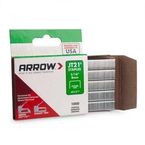 "Arrow A215 JT21 Light Duty Staples 5/16"" (Pack Of 1000)"
