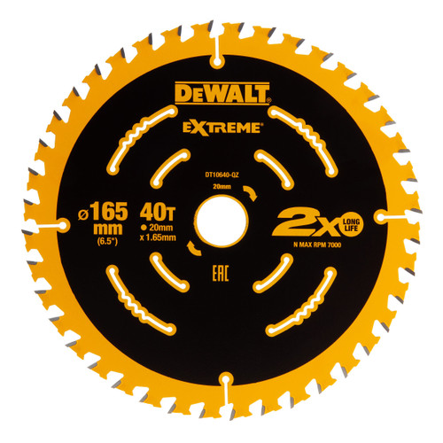 Dewalt DT10640-QZ Extreme Framing Circular Saw Blade 165mm x 20mm x 40T