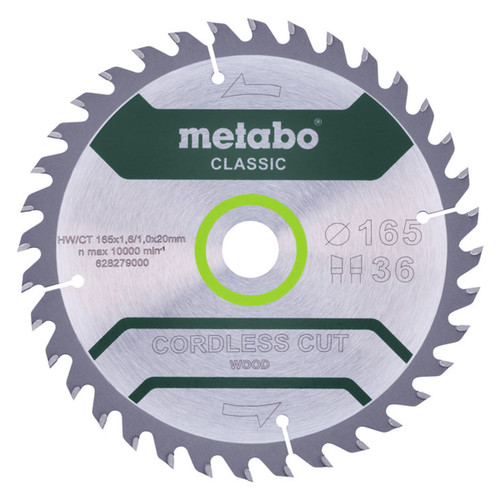 Metabo 628279000 Classic Saw Blade For Wood 165mm x 20mm x 36T