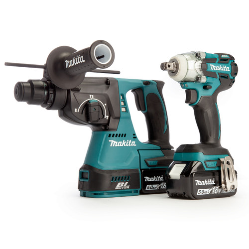Makita DLX2268TJ 18V LXT Brushless Twin Pack - DTW285Z Impact Wrench + DHR242Z Rotary Hammer (2 x 5.0Ah Batteries)