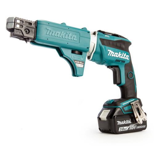 Makita DFS452FJX2 18V Brushless Drywall Screwdriver with Autofeed Attachment (2 x 3.0Ah Batteries)