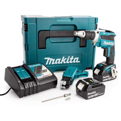 Makita DFS452FJX2 18V Drywall Screwdriver with Autofeed Attachment (2 x 3.0Ah Batteries)