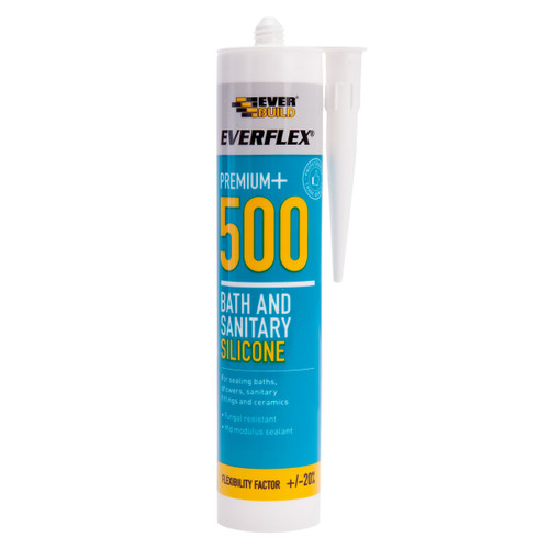 Everbuild 500WE Everflex 500 Bath and Sanitary Silicone White 295ml