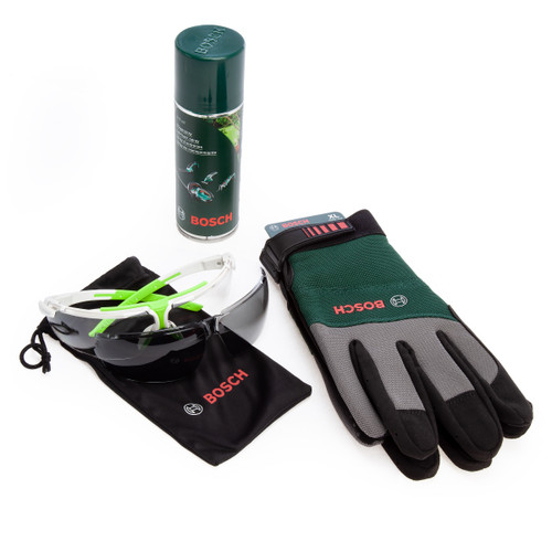 Bosch 1600A00ZZ8 Wood Care Kit - Lubricant, Glove and Glasses (3 Piece)