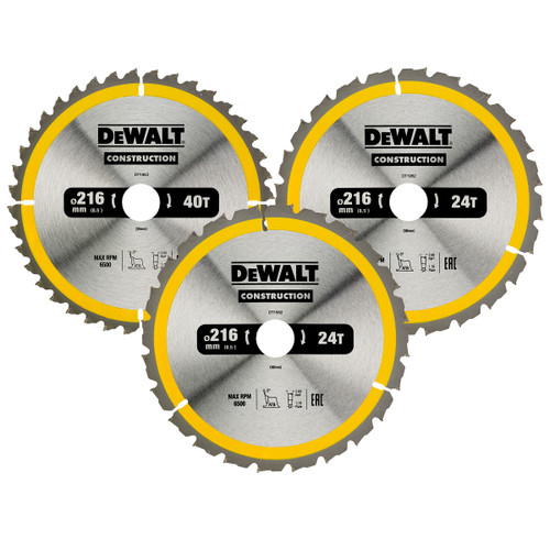 Dewalt DT1962 Construction Circular Saw Blades 216 x 30 mm 2 x 24T / 1 x 40T (3 Pack)