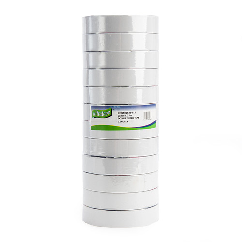 Ultratape RT09502533-T12 Clear Double Sided Tape 25mm x 33m (12 Rolls)