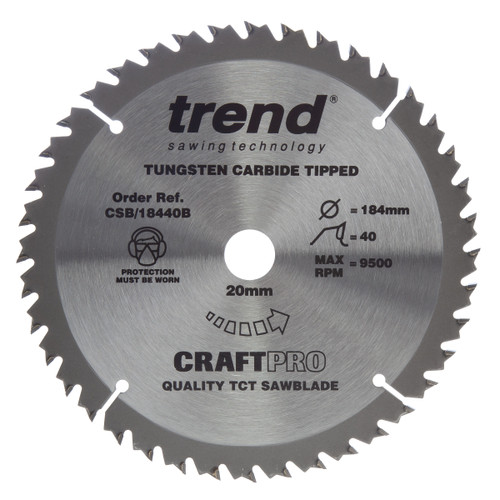 Trend CSB/18440B CraftPro Saw Blade Crosscut 184mm