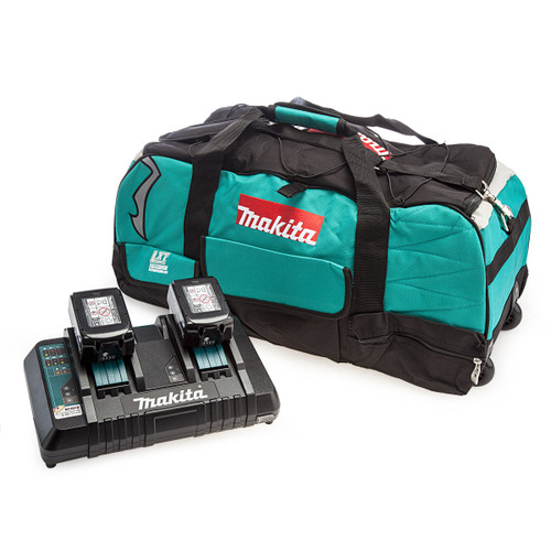 Makita Starter Kit - Twin Charger, Large Fabric Wheeled Carry Bag and 2 x 5.0Ah Batteries