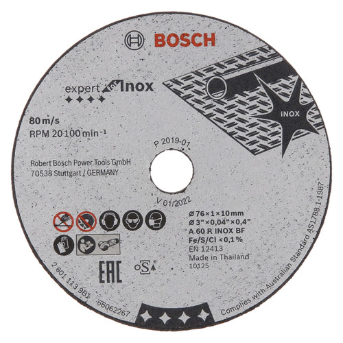 Bosch 2608601520 Expert for Inox Cutting Blades 76mm x 10mm Bore (Pack Of 5)