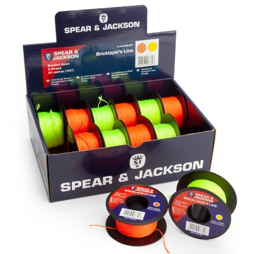 Spear & Jackson SJUK-50M-8OY Tyzack Orange/Yellow Brick Lines 164ft (Box of 12)