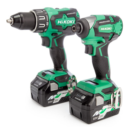 HiKOKI KC18DBFL2JDZ 18V Combi Drill & Impact Driver Twin Pack (2 x Multi-Volt Batteries)