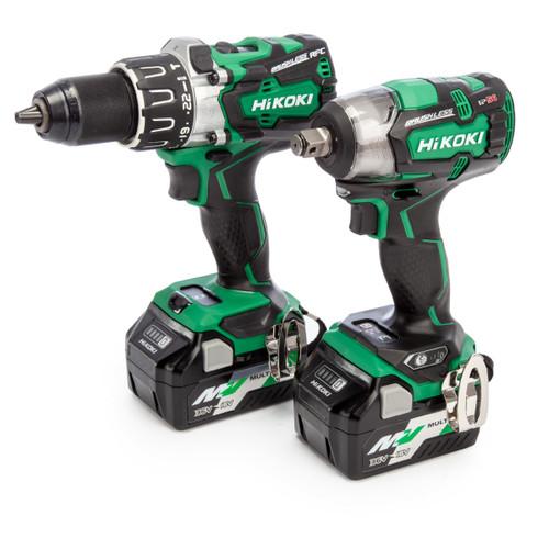 HiKOKI KC18DPLJBZ 18V Twinpack - DV18DBXL Combi Drill and WRDBDL2 Impact Wrench (2 x Multi-Volt Batteries)
