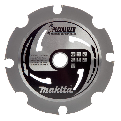Makita B-22997 Specialized Circular Saw for Fibre Cement Board 165mm x 20mm x 4T