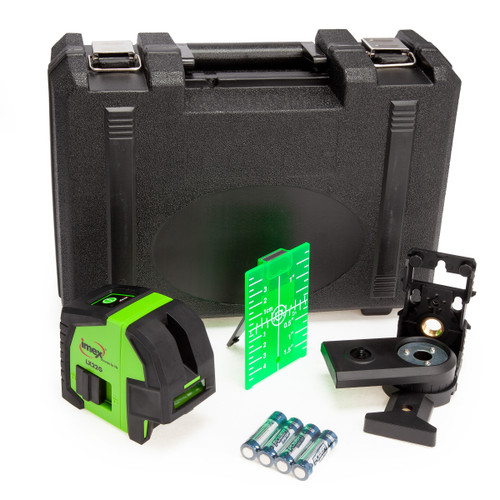 Imex LX22G Cross Line Plumb Green Laser Level with Magnetic Bracket in Case 2