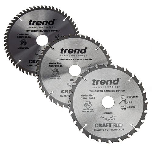 Trend CSB/190 CraftPro Saw Blade 190mm x 30mm x 24T, 40T & 60T 1