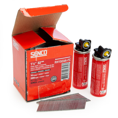 Senco RH15EAA-FC Galvanised Finish Nails 16 Gauge 32mm + 2 Fuelcells (2000 in Box)