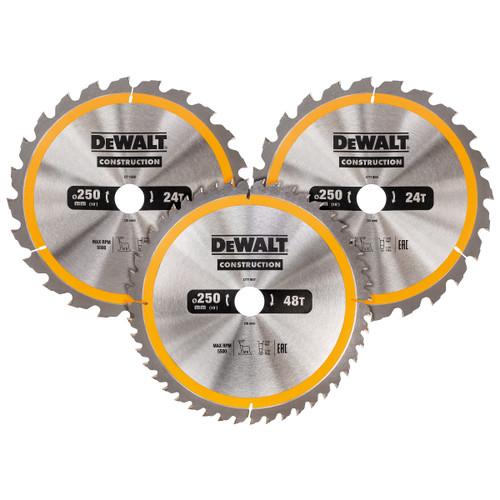 Dewalt DT1963 Construction Circular Saw Blade Triple Pack 250 x 30mm x 24T & 40T (3 Pack)