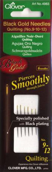 Black Gold Quilting Needle Sizes 9 - 12 6ct