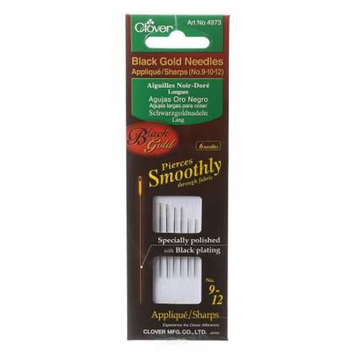 Black Gold Sharps Needle Sizes 9 - 12 6ct