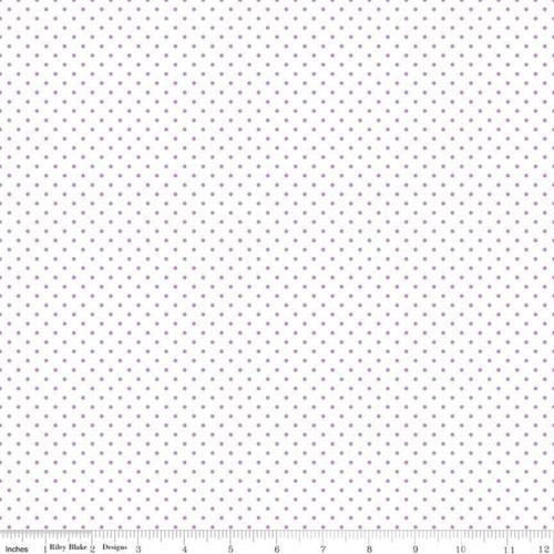 Swiss Dot on White Lavender