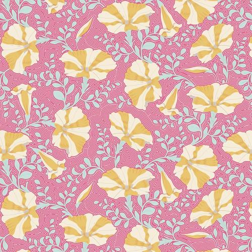 Tilda Gardenlife Striped Petunia Pink via Yardage