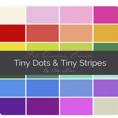Pre-Order 24 Piece Fat Quarter Bundle of True Colors Tiny Dots & Tiny Stripes- Tula Pink