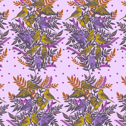 Visitation Print in Lilac from Bright Eyes Collection by Anna Marie Horner for Free Spirit Fabrics. 100% Premium Quilting Cotton.