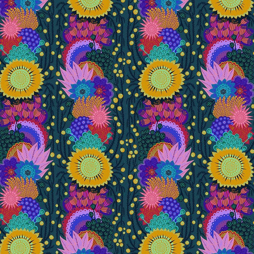 Brimming in Pine from Bright Eyes Collection by Anna Marie Horner for Free Spirit Fabrics. 100% Premium Quilting Cotton.