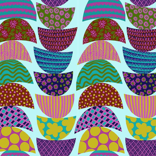 Stacked in Breakfast from Bright Eyes Collection by Anna Marie Horner for Free Spirit Fabrics. 100% Premium Quilting Cotton.