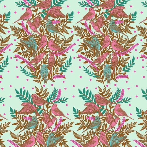 Visitation in Seafoam from Bright Eyes Collection by Anna Marie Horner for Free Spirit Fabrics. 100% Premium Quilting Cotton.