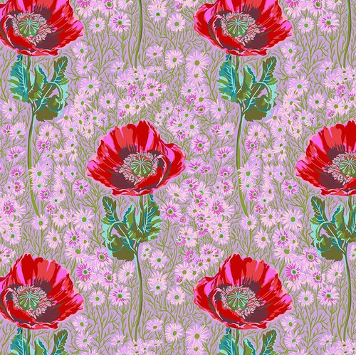 Bossy Print in Heather from Bright Eyes Collection by Anna Marie Horner for Free Spirit Fabrics. 100% Premium Quilting Cotton.