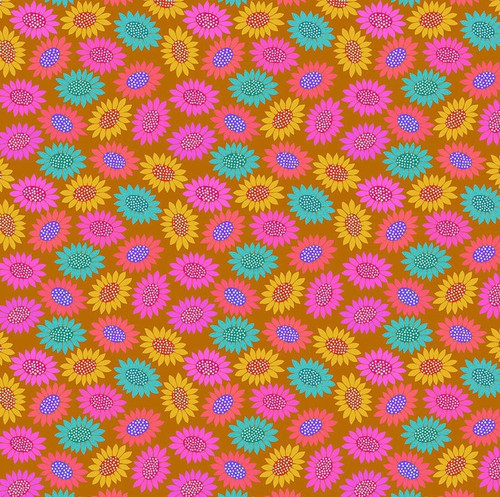 Picky in Gold from Bright Eyes Collection by Anna Marie Horner for Free Spirit Fabrics. 100% Premium Quilting Cotton.