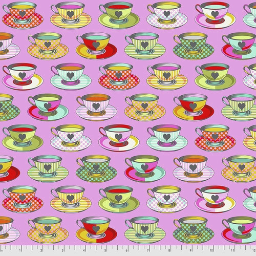 Tea Time in Wonder from Curiouser and Curiouser by Tula Pink for Free Spirit Fabrics. 100% Premium Quilting Cotton.