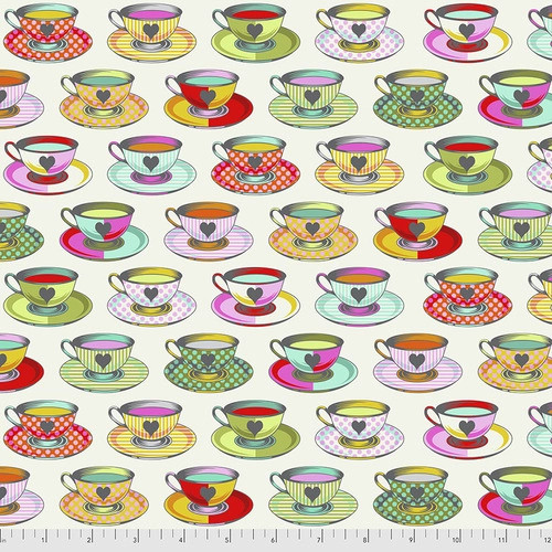 Tea Time in Sugar from Curiouser and Curiouser by Tula Pink for Free Spirit Fabrics. 100% Premium Quilting Cotton.