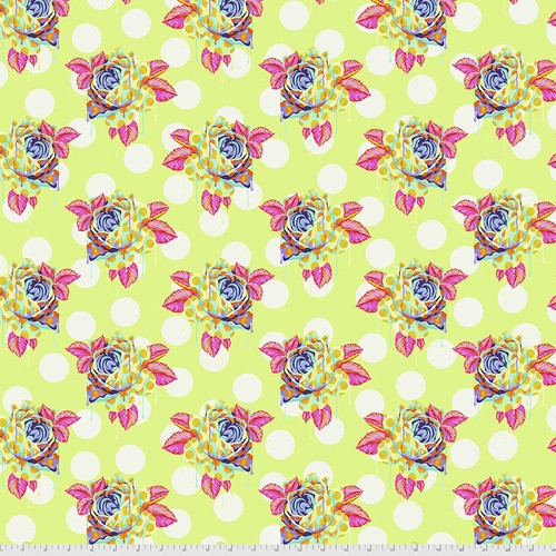 Painted Roses in Sugar from Curiouser and Curiouser by Tula Pink for Free Spirit Fabrics. 100% Premium Quilting Cotton.
