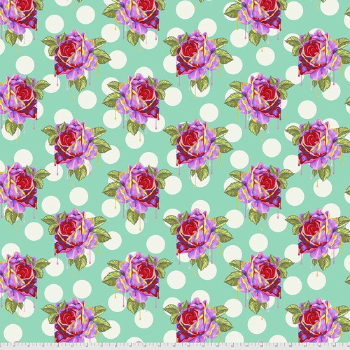 Painted Roses in Wonder from Curiouser and Curiouser by Tula Pink for Free Spirit Fabrics. 100% Premium Quilting Cotton.