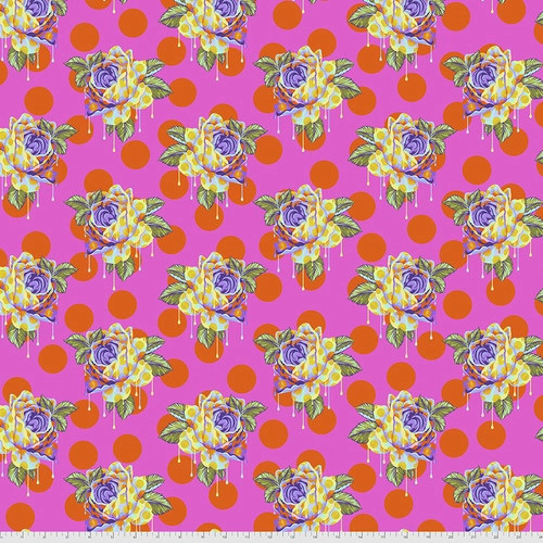 Painted Roses in Daydream from Curiouser and Curiouser by Tula Pink for Free Spirit Fabrics. 100% Premium Quilting Cotton.