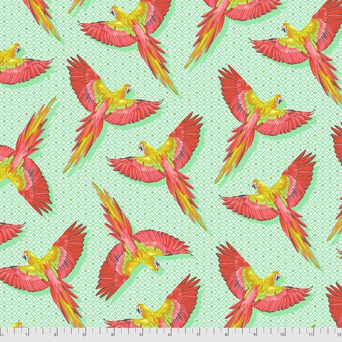 Macaw Ya Later in Mango from Daydreamer by Tula Pink for Free Spirit Fabrics. 100% Premium Quilting Cotton.