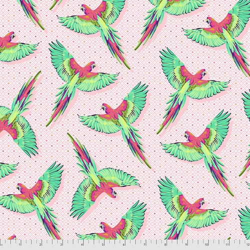 Macaw Ya Later in Dragonfruit from Daydreamer by Tula Pink for Free Spirit Fabrics. 100% Premium Quilting Cotton.