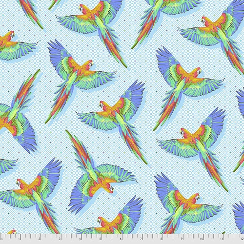 Macaw Ya Later in Cloud from Daydreamer by Tula Pink for Free Spirit Fabrics. 100% Premium Quilting Cotton.