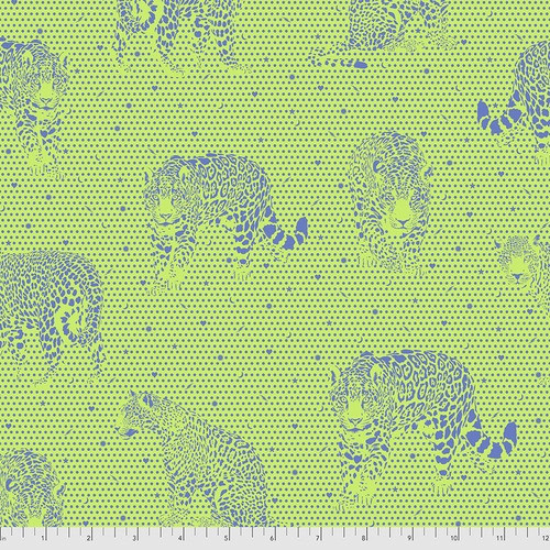 Lil Jaguar in Kiwi from Daydreamer by Tula Pink for Free Spirit Fabrics. 100% Premium Quilting Cotton.