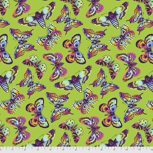 Butterfly Hugs in Avocado from Daydreamer by Tula Pink for Free Spirit Fabrics. 100% Premium Quilting Cotton.