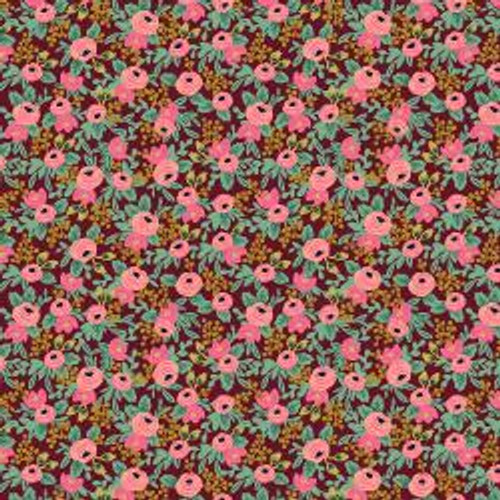 Metallic Rosa Burgundy from Rifle Paper Co. Garden Party Collection. 100% Premium Quilting Cotton.