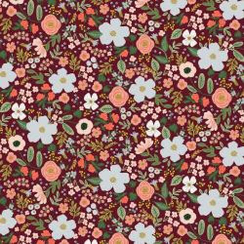 Metallic Wild Rose Burgundy from Rifle Paper Co. Garden Party Collection. 100% Premium Quilting Cotton.