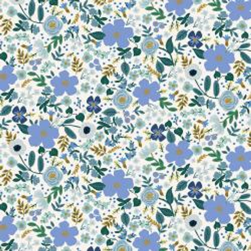 Metallic Wild Rose Blue from Rifle Paper Co. Garden Party Collection. 100% Premium Quilting Cotton.