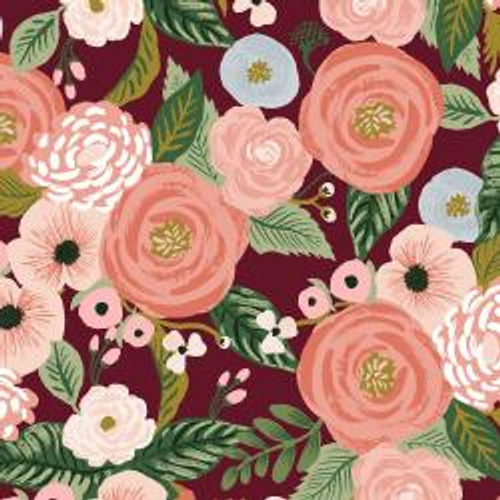 Canvas Juliet Rose Burgundy from Rifle Paper Co. Garden Party Collection. 100% Premium Quilting Cotton.