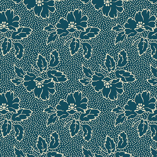Silhouette Floral in Tea Blue from Secret Stash's Warm Tones Collection by Laundry Basket Quilts for Andover Fabrics. 100% Premium Quilting Cotton.